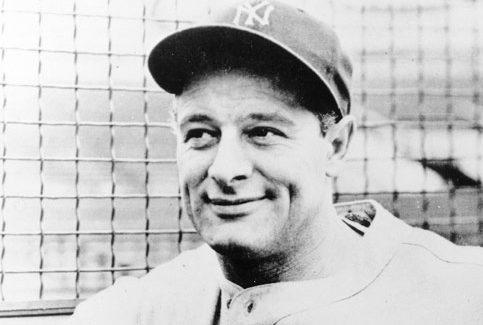 headshot of baseball player Lou Gehrig