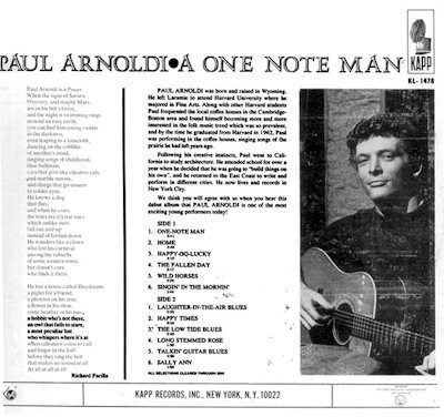 Paul Arnoldi Back Cover of One Note Man